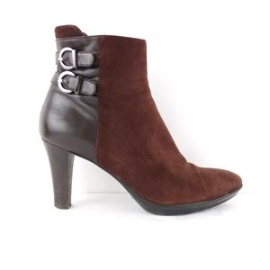 Aquatalia Roma Leather Suede Weatherproof Booties